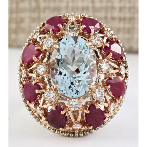 15.00 Ct Aquamarine Ruby And Diamonds Ring 14K Gold Gemstone Ring