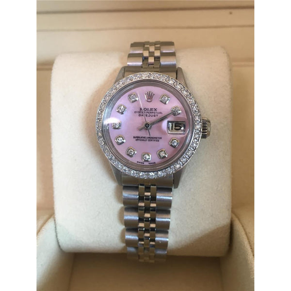 Rolex Datejust Watch Mother Of Pearl Dial Diamond Bezel Ss Watch Bezel