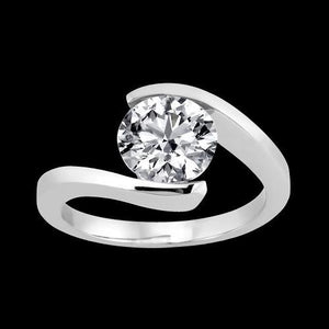 1.51 Carat Diamond Cathedral Setting Solitaire Ring White Gold Solitaire Ring