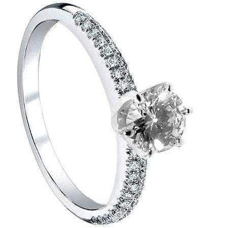 1.51 Carat Diamond Engagement Ring Solitaire With Accents Solitaire Ring with Accents