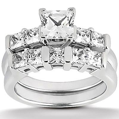 1.51 Carat Diamonds Princess Cut Engagement Ring Set White Gold 14K Engagement Ring Set
