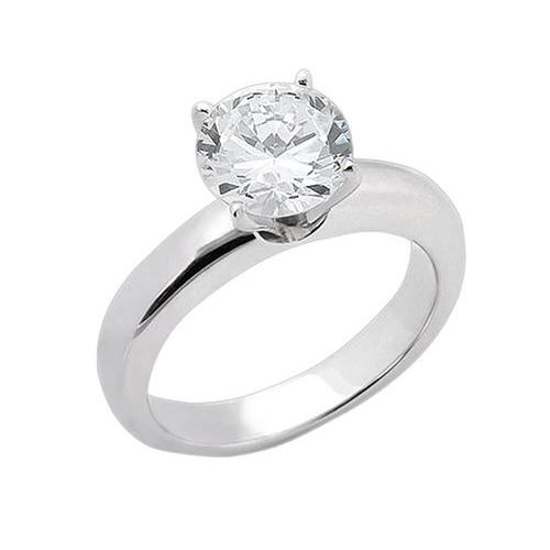1.51 Carat E Vvs1 Diamond Solitaire Engagement Ring Solid 14K White Gold Solitaire Ring