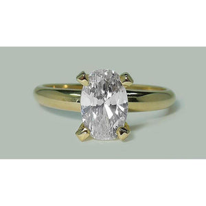 1.51 Carat Oval Diamond Solitaire Ring Yellow Gold 14K Solitaire Ring