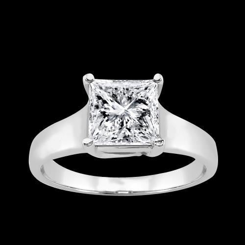 1.51 Carat Princess Cut Diamond Solitaire Ring Wedding Jewelry Gold Solitaire Ring