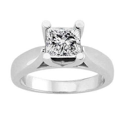 1.51 Carat Princess Diamond Solitaire Ring 4 Prong Setting White Gold Solitaire Ring