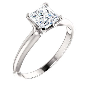 1.51 Carat Princess Diamond Solitaire Ring Solid White Gold 14K Jewelry New Solitaire Ring
