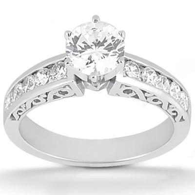 1.51 Carats Diamonds Engagement Ring Set Solitaire Diamond With Accent Smaller Diamonds On Shank Solitaire Ring with Accents