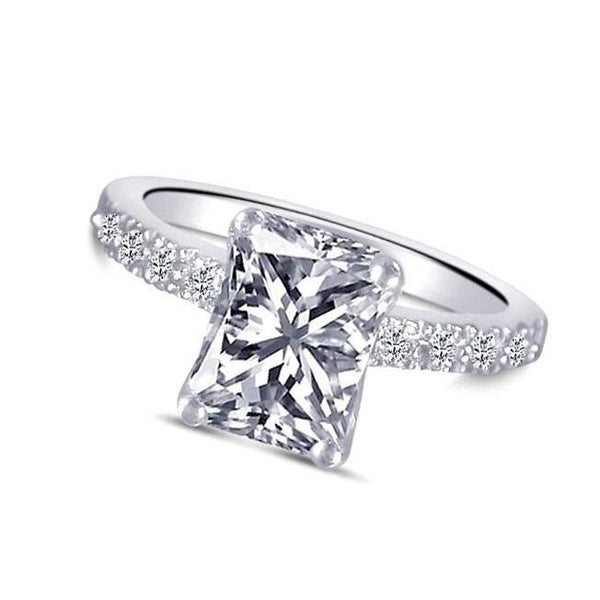 1.51 Carats Radiant Cut Diamond Solitaire With Accents Ring Gold White 14K Solitaire Ring with Accents