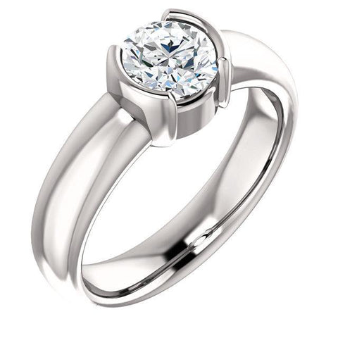 1.51 Ct. Sparkling Round Diamond Half Bezel Solitaire Ring Solitaire Ring