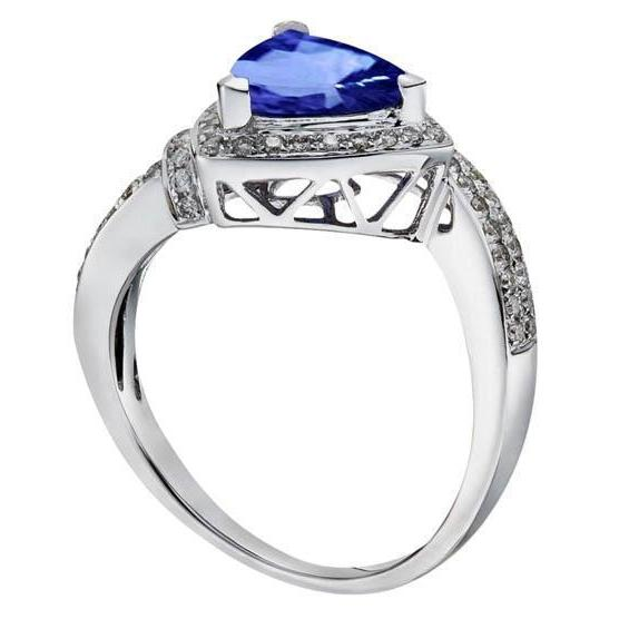 1.51 Ct Trillion Ceylon Sapphire& Round Diamonds Ring White Gold Gemstone Ring