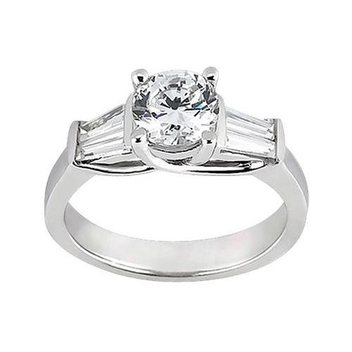 1.53 Carat Round & Baguette Diamonds Engagement Ring Three Stone Style Three Stone Ring