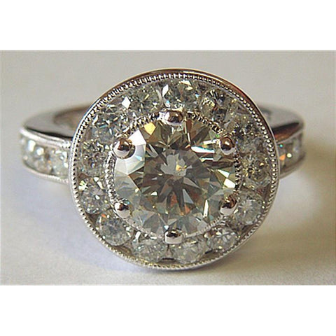 4.00 Ct Big Diamond Ring Round Diamond Halo Ring Platinum Halo Ring