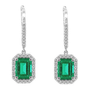 15.50 Ct. Emerald Shaped Green Emerald Diamond Dangle Earring Wg 14K Gemstone Earring