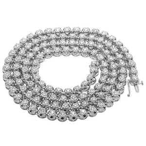 16 Carats Round Diamond Tennis Necklace 32 Inches 8 Mm White Gold 14K Necklace