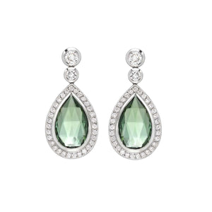 16 Ct Green Tourmaline Diamond Drop Dangle Earring Gemstone Earring