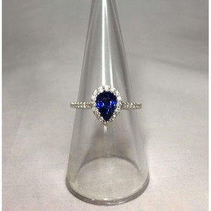 1.6 Ct Pear Cut Sri Lanka Blue Sapphire Diamond Ring Gemstone Ring