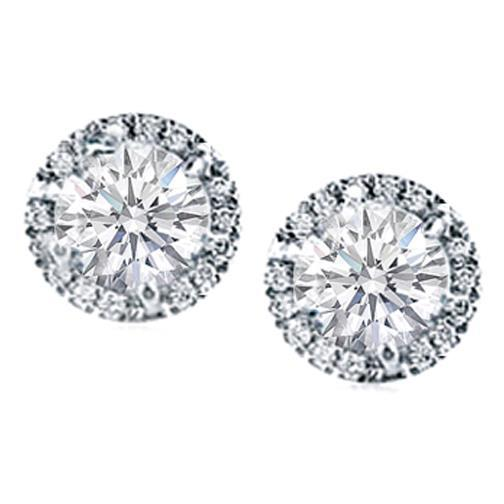 1.6 Ct Prong Set Round Halo Diamond Stud Earrings Halo Stud Earrings