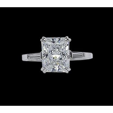 1.60 Ct. Radiant Diamond Solitaire Ring With Baguettes White Gold 14K Three Stone Three Stone Ring