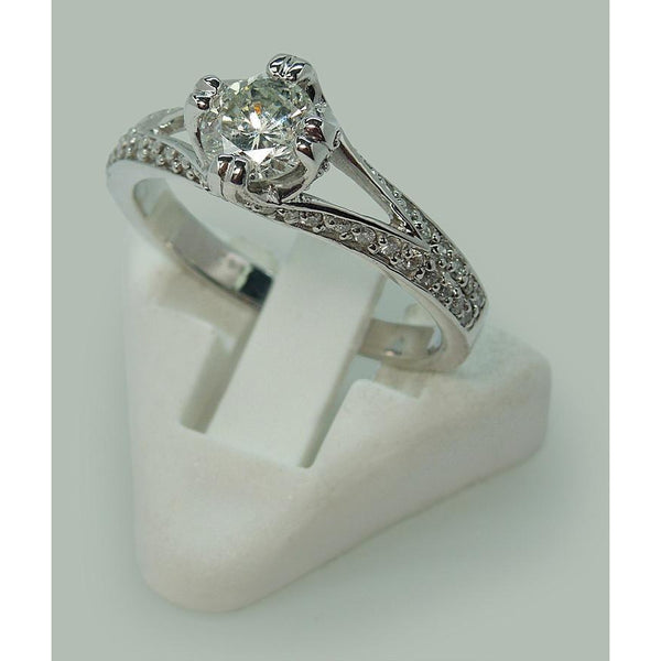 Wg Engagement Ring Split Shank Pave Diamond Solitaire With Accents