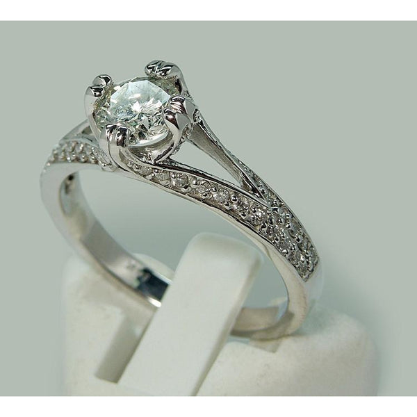 Solitaire Ring with Accents Wg Engagement Ring Split Shank Pave Diamond Solitaire With Accents
