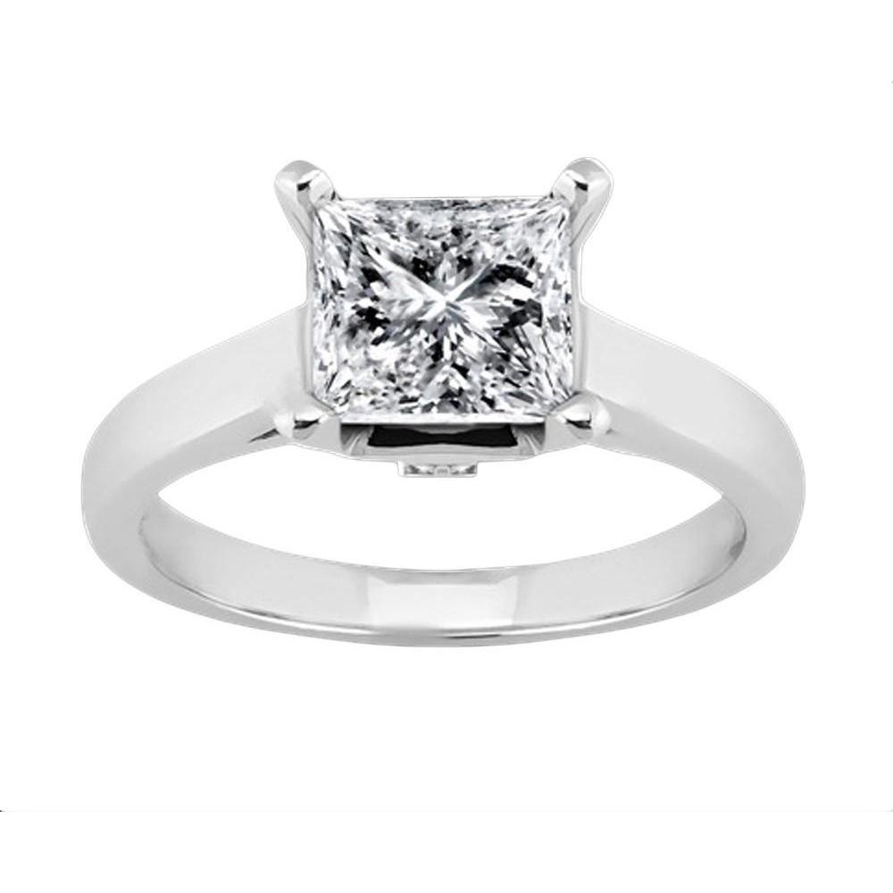 1.61 Carat Solitaire Diamond Engagement Ring Princess Diamond White Gold Solitaire Ring