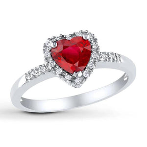 1.65 Heart Cut Red Ruby With Diamond Ring White Gold 14K Gemstone Ring