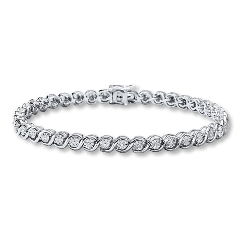 16.72 Round Diamond Tennis Bracelet F/G Vs2/Si1 38 Stones White Gold 14K Tennis Bracelet