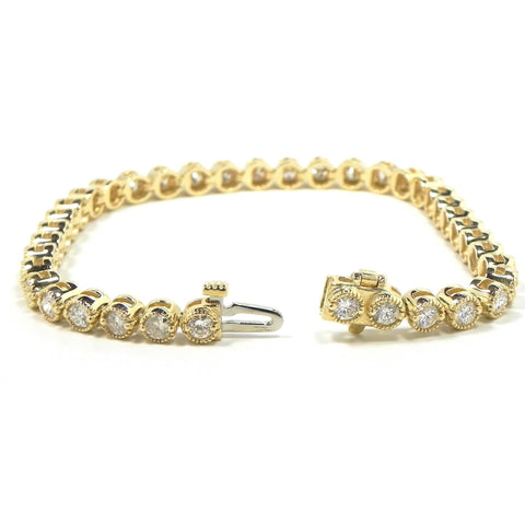 16.72 Round Diamond Tennis Bracelet F/G Vs2/Si1 38 Stones Yellow Gold 14K Tennis Bracelet