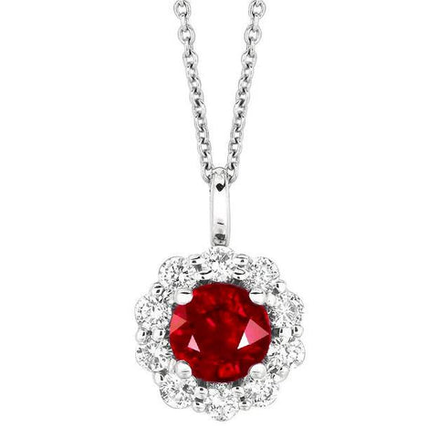 1.69 Carat Round Ruby & Diamond White Gold Necklace Pendant With Chain New Gemstone Pendant