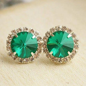 17 Carats Round Shaped Green Emerald Halo Diamond Stud Earring 14K Gemstone Earring