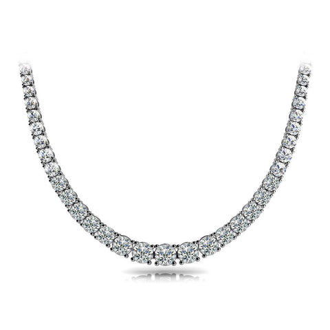 17 Ct Prong Setting Round Diamond Tennis Necklace Solid White Gold Necklace