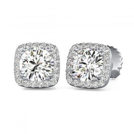 1.7 Ct Round Cut Halo Diamond Stud Lady Earring 14K White Gold Halo Stud Earrings