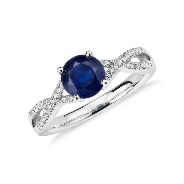 1.7 Ct Round Cut Sri Lanka Sapphire Diamond Ring Gemstone Ring