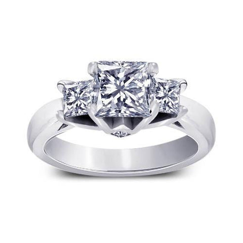 1.70 Carat Three Stone Style Princess Diamonds Engagement Anniversary Ring Three Stone Ring