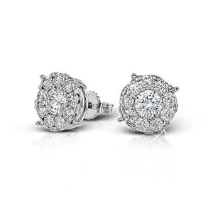 1.70 Carats Round Diamond Halo Stud Earring Solid White Gold Jewelry Halo Stud Earrings