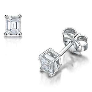 1.70 Ct Emerald Cut Diamond Studs Earrings White Gold 14K Stud Earrings