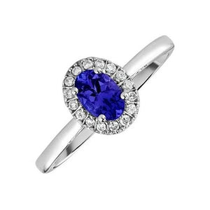 17.00 Carats Oval Tanzanite With Round Diamonds Ring Gold White 14K Gemstone Ring