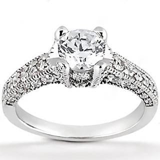 1.71 Ct F Vs1 Diamonds Solitaire With Accents Ring Gold Engagement Ring Solitaire Ring with Accents