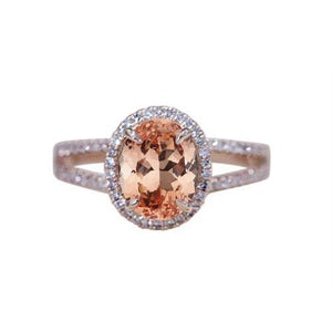 17.25 Ct Oval And Round Cut Morganite With Diamonds Ring Rose Gold Gemstone Ring