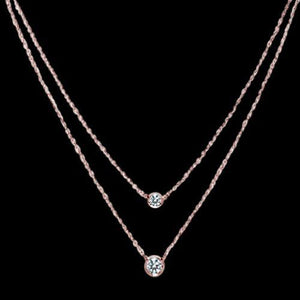 1.75 Carat Pink Gold Rose Gold Double Necklace Diamonds Yard Necklace