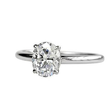 1.75 Carat Solitaire Oval Cut Diamond Engagement Ring 14K Gold White Solitaire Ring