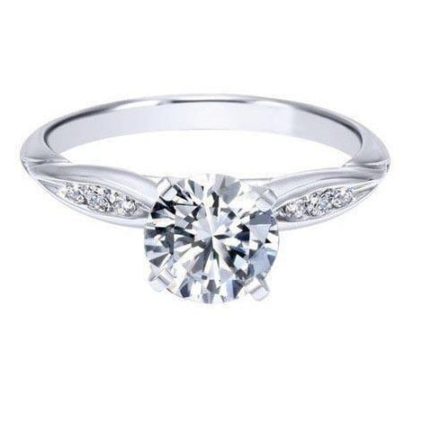 1.75 Carats G Vs2 Diamond Engagement Ring White Gold 14K Solitaire Ring with Accents