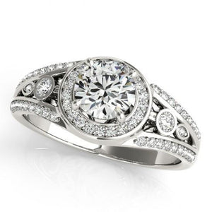 1.75 Carats Round Brilliant Diamonds White Gold 14K Engagement Fancy Ring Halo Halo Ring