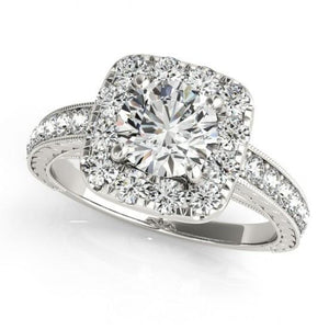 1.75 Carats Round Diamonds Halo Engagement Anniversary Ring White Gold 14K Halo Ring