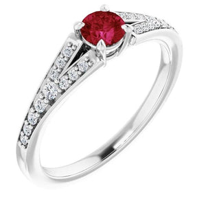 1.75 Carats Split Shank Round Ruby Ring White Gold 14K Gemstone Ring