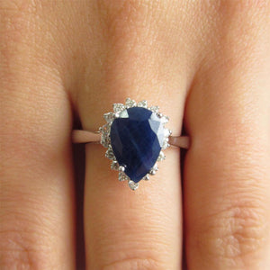 1.75 Ct Blue Pear Cut Sapphire With Diamond Ring Lady Men Gold Gemstone Ring