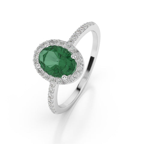 1.75 Ct Oval Cut Green Emerald With Diamond Wedding Ring Gemstone Ring