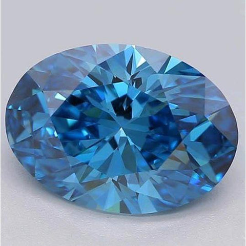 1.75 Ct Oval Cut Vivid Blue Loose Diamond Diamond