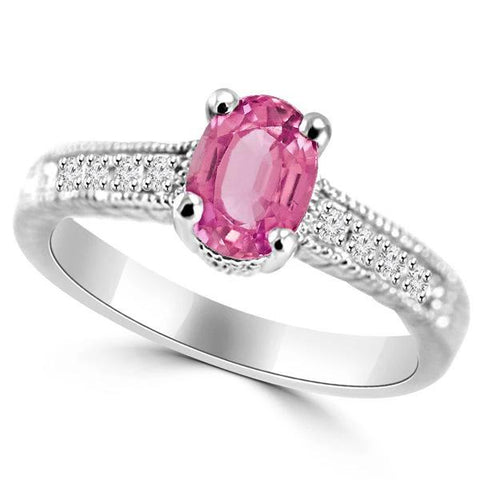 1.75 Ct Oval Pink Sapphire Diamond Vintage Style Wedding Ring Gold Gemstone Ring