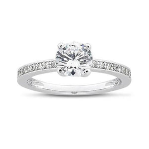 1.75 Ct Round Diamond White Gold Solitaire With Accents Ring Solitaire Ring with Accents